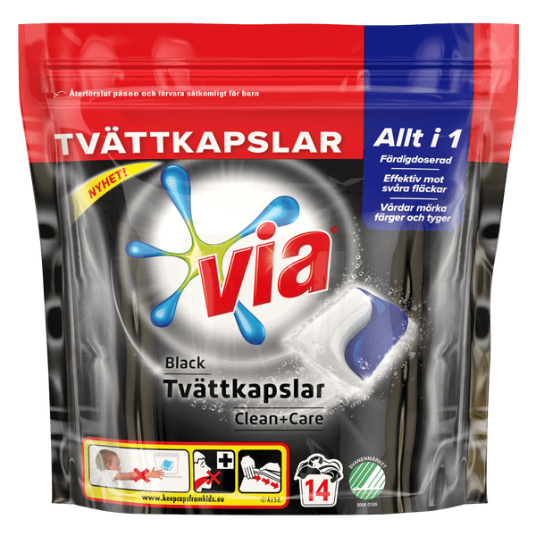 Via Black Tvättkapslar Clean+Care pack skott